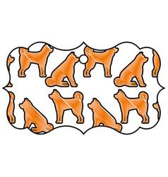 label classic chinese dog zodiac calendar pattern vector image