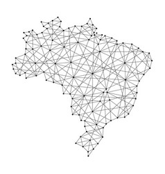 map of brazil from polygonal black lines vector image vector image