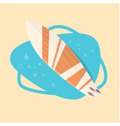 Surfing board icon summer sea vacation concept vector