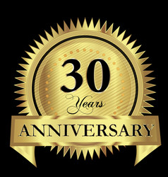 30 years anniversary gold seal logo design vector image