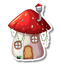 A sticker template with mushroom house isolated vector