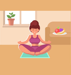 a woman sitting on a rug in the room meditating vector image