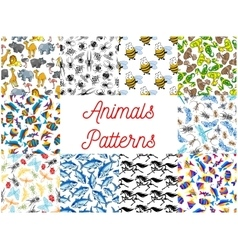 Animals and fishes seamless background set vector