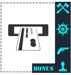 atm cash icon flat vector image