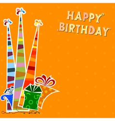 Birthday background with striped party hats vector image