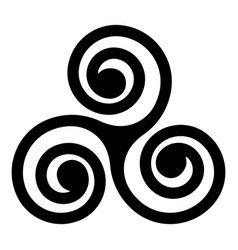 black celtic triskelion spirals over white one vector image