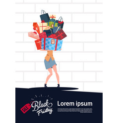 black friday sale poster with woman holding gift vector image