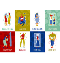 Book store people flat cards vector