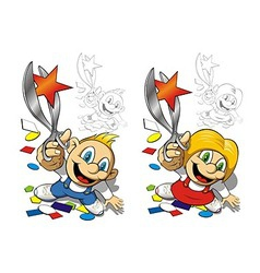 Boy and girl with scissors vector image