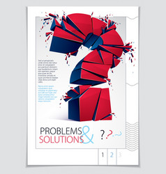 Broken question mark exploding brochure or flyer vector