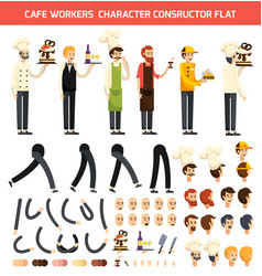 cafe worker character icon set vector image