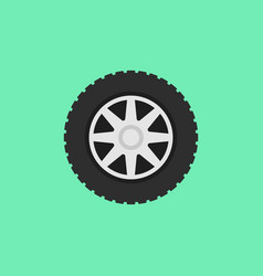 car flat wheel with tire icon on green vector image