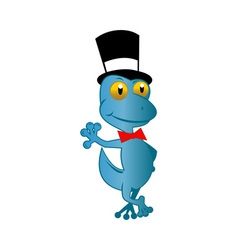 cartoon gecko with top hat and bow tie standing vector image