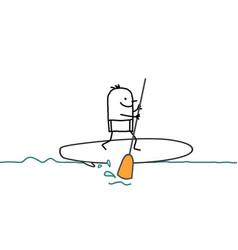 Cartoon man and paddle on sea vector