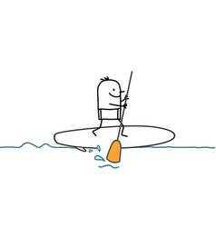 Cartoon man and paddle on the sea vector