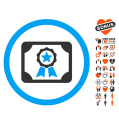 Certificate icon with dating bonus vector