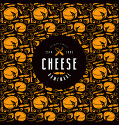 Cheese label and frame with pattern vector