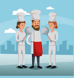 Chefs teamwork at city vector