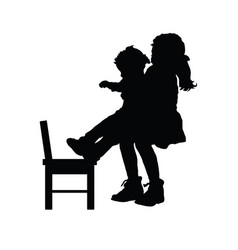 Children silhouette with chair vector