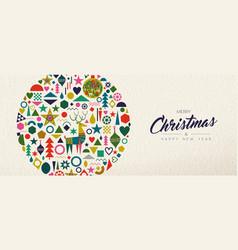 christmas and new year retro folk art decoration vector image