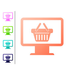 coral computer monitor with shopping basket icon vector image
