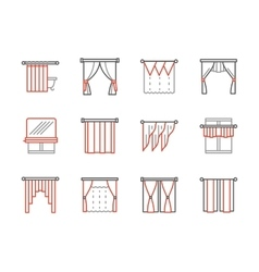 Curtains salon black and red line icons vector