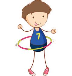 Cute boy playing hula hoop cartoon character vector
