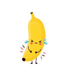 Cute sad cry banana fruit vector