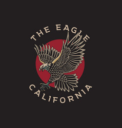 Eagle and red circle with traditional tattoo style vector