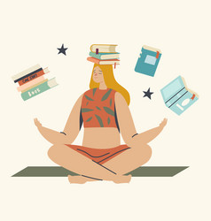 education reading hobconcept woman sit on vector image