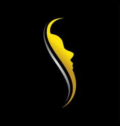 elegant face profile initial s silhouette graphic vector image