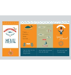Fish restautant menu design - hand drawn vector image
