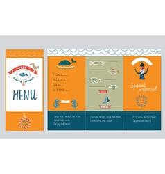 Fish restautant menu design - hand drawn vector