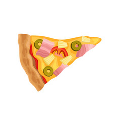 flat icon of triangle pizza slice tasty vector image