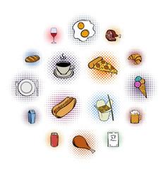 food comics icons set vector image