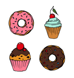 food sweets bakery and pastry donut and cupcake vector image