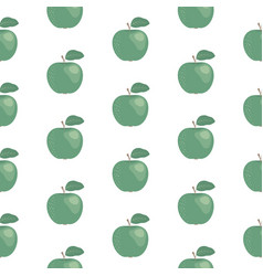 fresh green apples seamless pattern hand drawn vector image