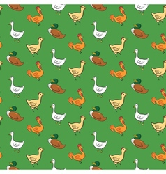 Funny seamless pattern with geese ducks cocks vector image
