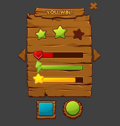 game concept wooden interface with buttons vector image