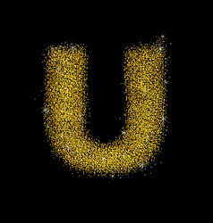 gold dust font type letter u vector image