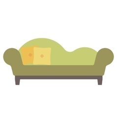 Green chaise lounge with pillows vector image