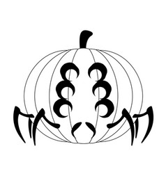 halloween pumpkin with a spider shape vector image