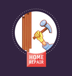 Hand with hammer home repair icon vector