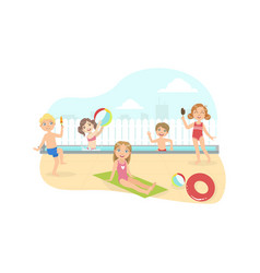 happy boys and girls swimming amd having fun on vector image