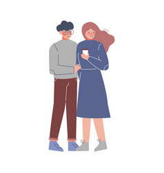 happy couple in love young woman and man hugging vector image