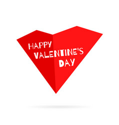 Happy valentines day red heart with title vector