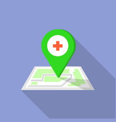 hospital map pin icon flat style vector image