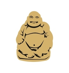 Hotei or Budai Japanese Netsuke icon flat style vector