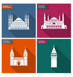 Istanbul landmarks and monuments flat vector