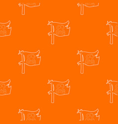 jolly roger pattern orange vector image